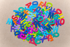 Random color wooden alphabets Royalty Free Stock Photo