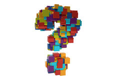 Random Colored Question Mark. Random colored Metallic question mark with random cubes. High resolution rendered in 3D Royalty Free Stock Photography