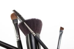 Random composition with make-up brushes Royalty Free Stock Photos