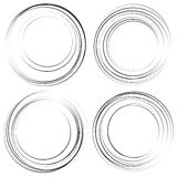 Random concentric circles. Set of 4 elements. abstract monochrome graphics. Royalty free vector illustration royalty free illustration