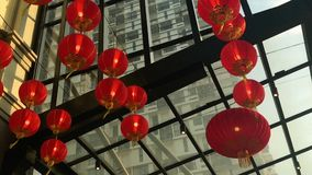 Hanging lanterns deco in the mall stock video footage
