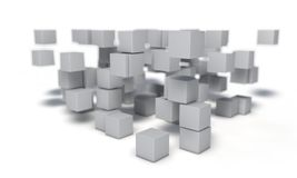 Random cubes of background, 3d. Render Royalty Free Stock Image