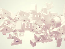 Random 3d letters flying. Random letters flying. High resolution 3d render Stock Photography