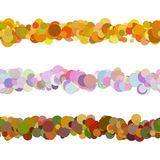 Random dot pattern line separator set from colored circles - vector design elements to divide page parts. Random dot pattern line separator decoration set from Stock Photography