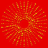 Random dots radial halftone element, pop art red, yellow colors Stock Images
