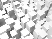 Random extruded white boxes. 3d illustration royalty free stock photos