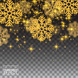 Random Falling Gold Snowflakes Shining Glitter Abstract Pattern Royalty Free Stock Photography