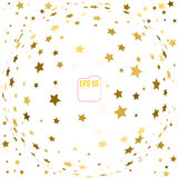 Random falling gold stars on white background. Glitter pattern f Stock Photos