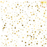 Random falling gold stars on white background. Glitter pattern f Royalty Free Stock Photos