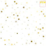 Random falling gold stars on white background. Glitter pattern f Royalty Free Stock Images