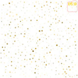 Random falling gold stars on white background. Glitter pattern f Royalty Free Stock Image