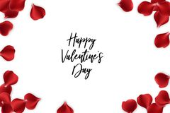 Valentines Day rose petal background. Random falling petals. Isolated greeting frame. Red rose petal isolated white background. Wedding illustration. Happy Stock Photos