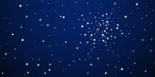 Random falling stars Christmas background. Subtle. Flying snow flakes and stars on dark blue night background. Astonishing winter silver snowflake overlay vector illustration