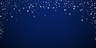 Random falling stars Christmas background. Subtle. Flying snow flakes and stars on dark blue night background. Attractive winter silver snowflake overlay stock illustration