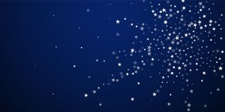 Random falling stars Christmas background. Subtle. Flying snow flakes and stars on dark blue night background. Artistic winter silver snowflake overlay template royalty free illustration
