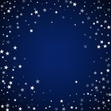 Random falling stars Christmas background. Subtle. Flying snow flakes and stars on dark blue night background. Amazing winter silver snowflake overlay template royalty free illustration