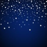 Random falling stars Christmas background. Subtle. Flying snow flakes and stars on dark blue night background. Alive winter silver snowflake overlay template royalty free illustration