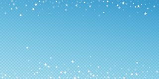 Random falling stars Christmas background. Subtle. Flying snow flakes and stars on blue transparent background. Amusing winter silver snowflake overlay template vector illustration