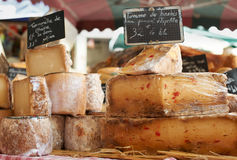 Random French cheese on Provence market Royalty Free Stock Photography