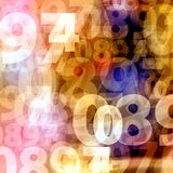 Random gold yellow numbers background Stock Images