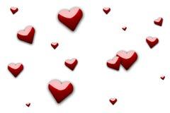 Random Hearts. Red hearts random scattered around on white background vector illustration