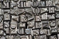 Random letterpress type. Close up royalty free stock image