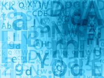 Random letters background. Random blue letters education background Stock Image
