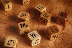 Random letters dice - dyslesia . education Royalty Free Stock Image