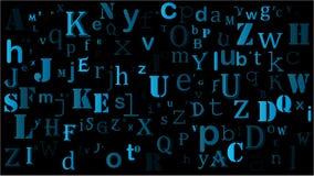 Random letters english alphabet background design on black.  Stock Photos