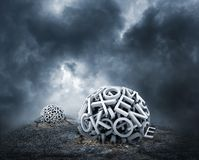 Random letters forming a sphere on the ground Royalty Free Stock Image
