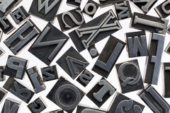 Random letters in metal type Stock Photo