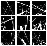 Random lines artistic element / pattern set. Non figural monochr Stock Photo