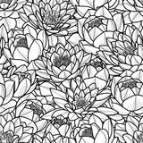 Random lotus flower in black outline on white background. Seamless pattern vector illustration. Royalty Free Stock Images