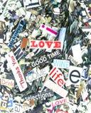 Random magazine words and letters Stock Photos
