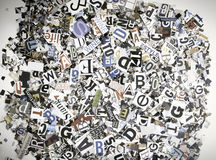 Random magazine words and letters Stock Image