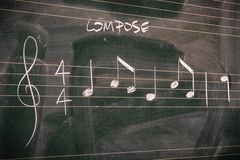 Random music notes on a blackboard royalty free stock images