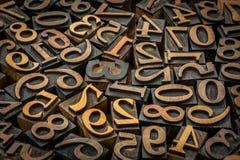 Random number background. Vintage letterpress wood type stock image