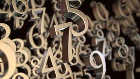 Random numbers. Random metallic 3d numbers background stock illustration