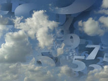 Random numbers generated cloud background illustration. Random numbers generated in a fluffy cloud background Royalty Free Stock Photo