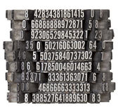 Random numbers in letterpress type Royalty Free Stock Photography