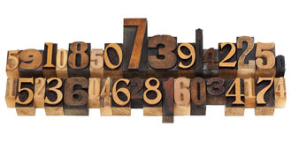 Random numbers in letterpress type Stock Images