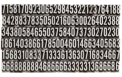 Random numbers in metal letterpress type. Random numbers in vintage grunge metal letterpress printing blocks, isolated on white Stock Images