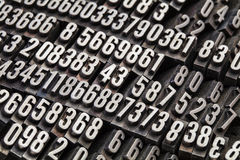 Random numbers in metal type Royalty Free Stock Photos