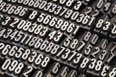 Random numbers in metal type. Random numbers in vintage, grunge, dusty metal letterpress printing blocks royalty free stock photos