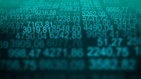 Random numerical data table grid scree blue background stock illustration