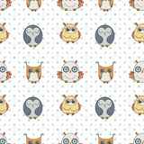 Random owls seamless pattern. Cute nignht birds. For coloring books, wrapping, printing, textile. Stock Photos