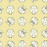 Random owls seamless pattern. Cute nignht birds. For coloring books, wrapping, printing, textile. Stock Photography