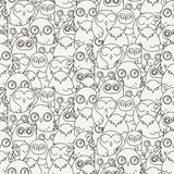 Random owls seamless pattern. Cute nignht birds. For coloring books, wrapping, printing, textile. Royalty Free Stock Images