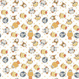 Random owls seamless pattern. Cute nignht birds. For coloring books, wrapping, printing, textile. Royalty Free Stock Photography