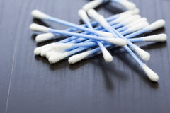 Random pile of blue plastic cotton ear buds Royalty Free Stock Photo